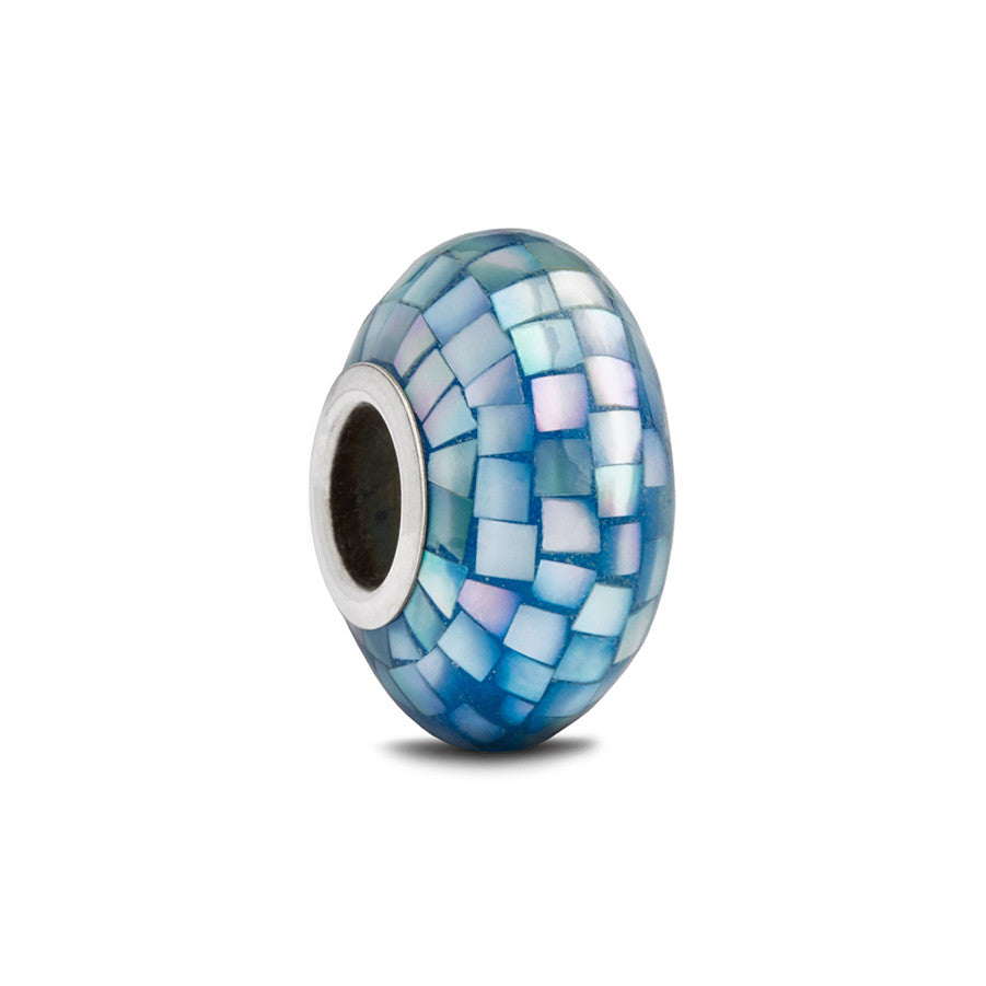 Cobalt Mother of Pearl Spacer Bead - Fenton Glass Jewelry