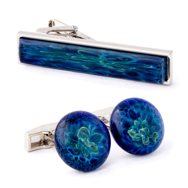 """Ocean's Depths"" Cufflink & Tie Bar Set"
