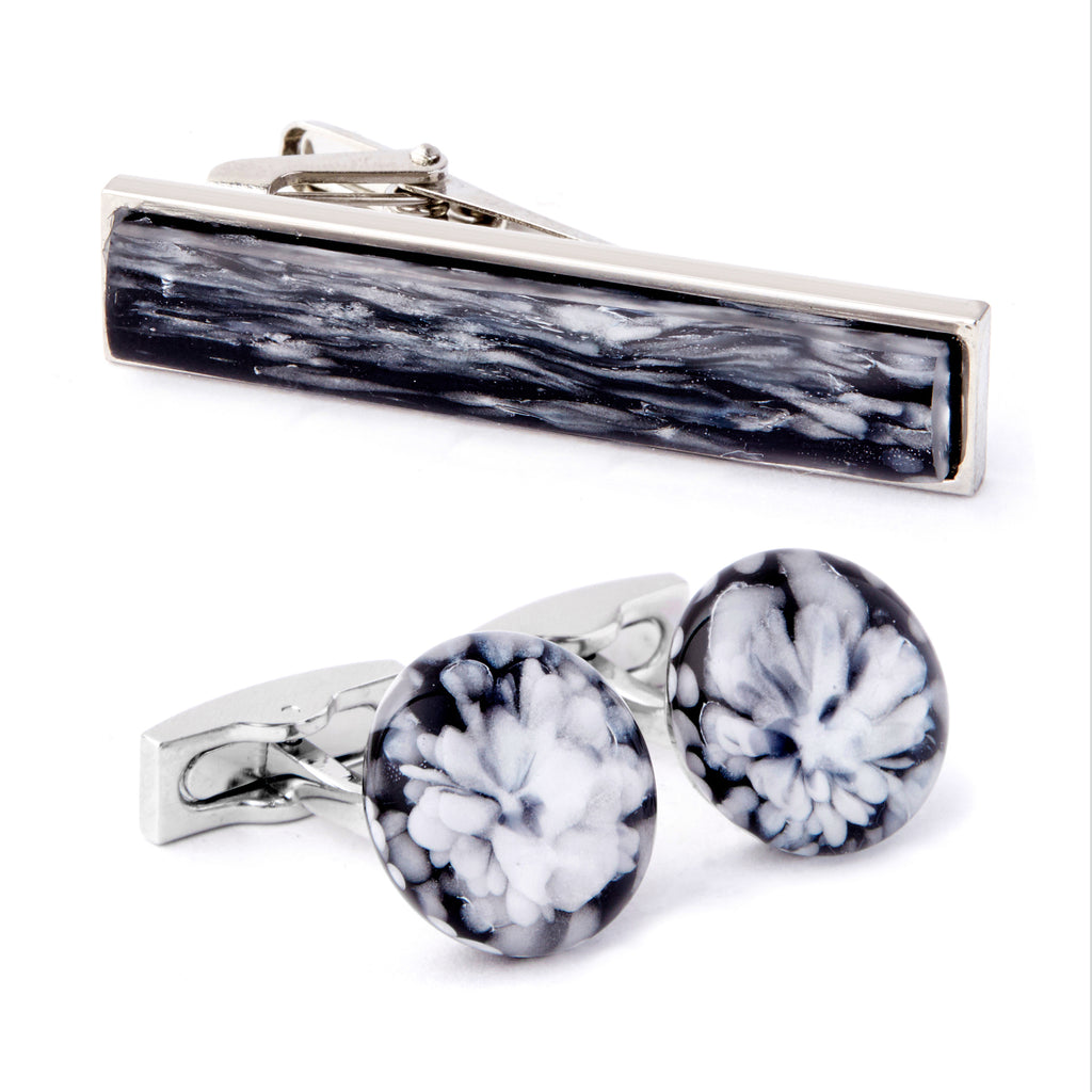 """Frozen Waters"" Cufflink & Tie Bar Set"