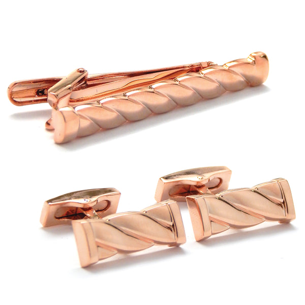 Twisted Rose Gold Cufflink & Tie Bar Set