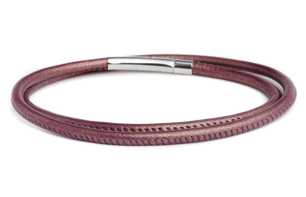 Double Wrap Leather Bracelet in Amethyst - Fenton Glass Jewelry