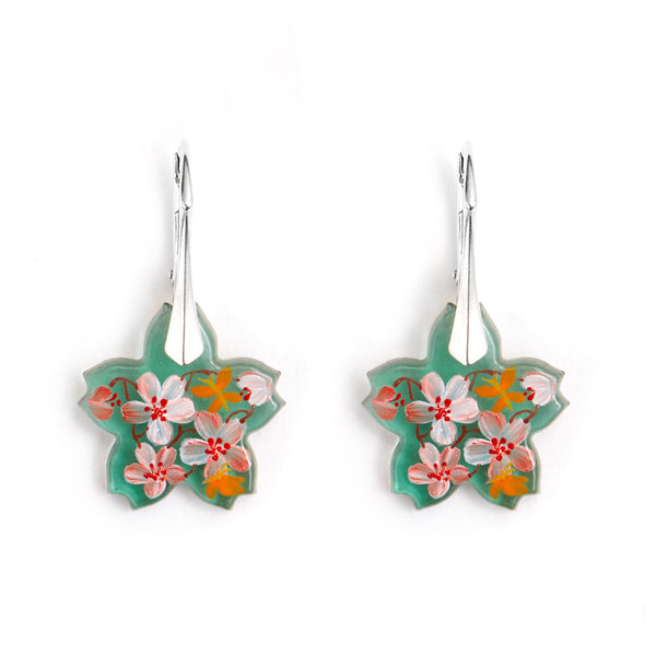 """Amid the Blossoms"" Hand Decorated Earrings"