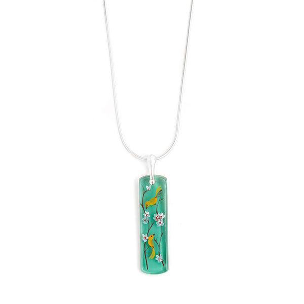 """Amid the Blossoms"" Hand Decorated Pendant Necklace"