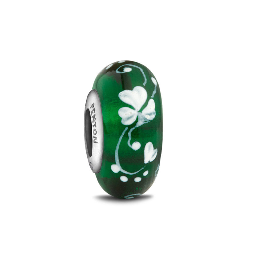 """An Irish Blessing"" Hand Decorated Glass Bead - Fenton Glass Jewelry"