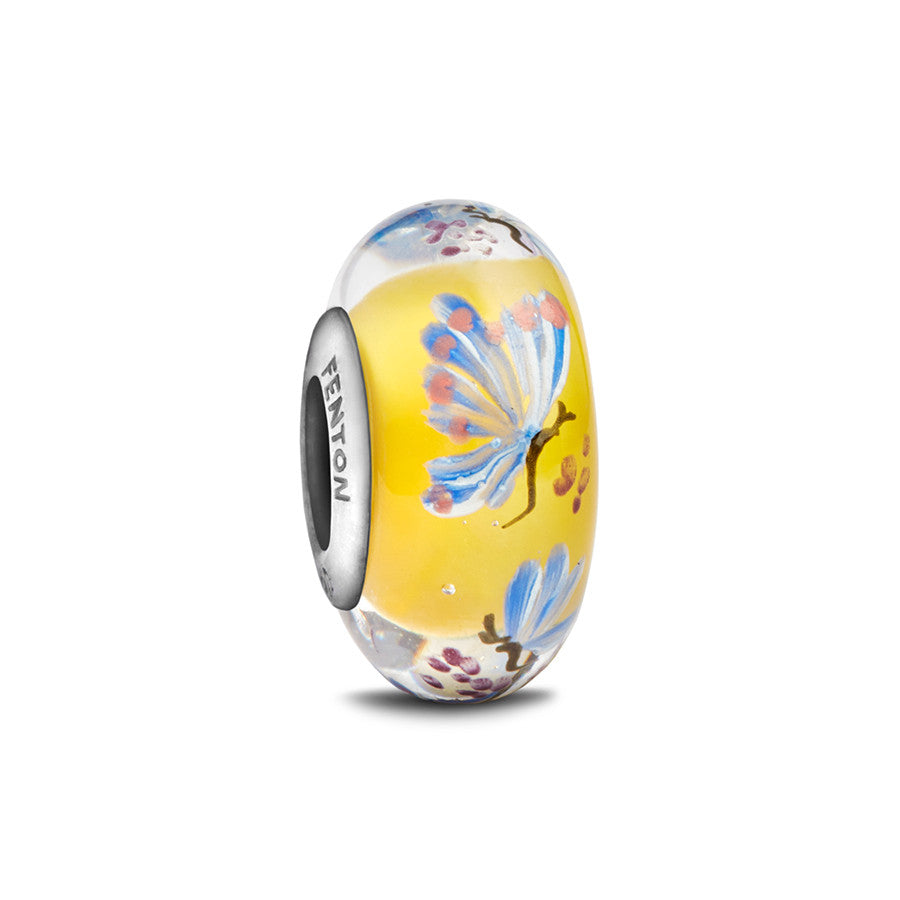 """Butterfly Love"" Hand Decorated Glass Bead - Fenton Glass Jewelry"