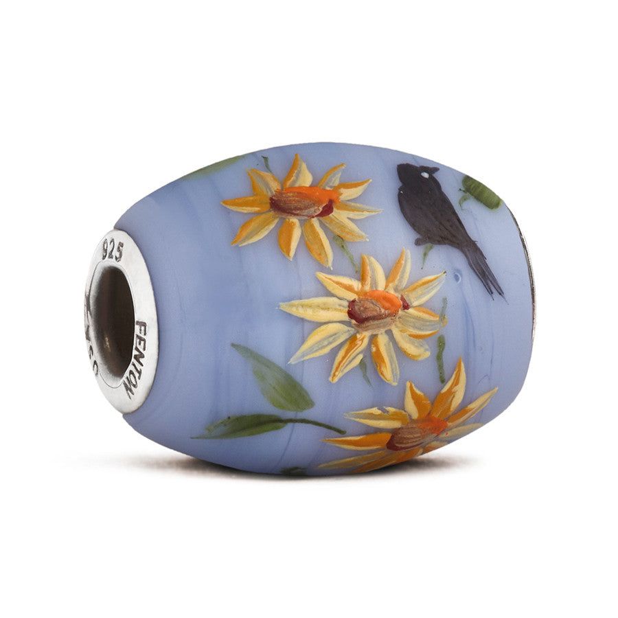 """Blackbird Blooms"" Glass Cornerstone Bead - Fenton Glass Jewelry"