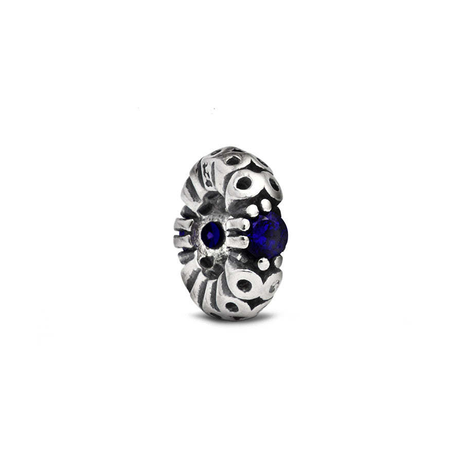 Blue Crystal Accent Spacer Charm - Fenton Glass Jewelry