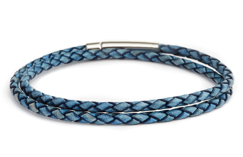 Braided Double Wrap Leather Bracelet in Blue - Fenton Glass Jewelry