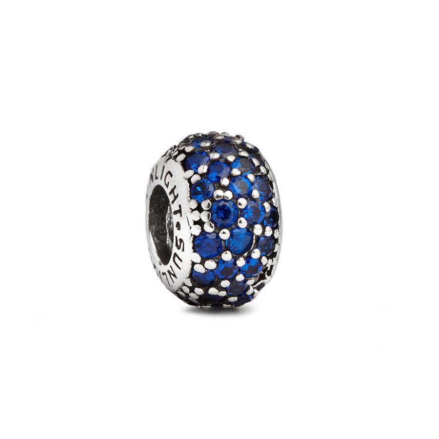 Blue Crystal Spacer Bead - Fenton Glass Jewelry