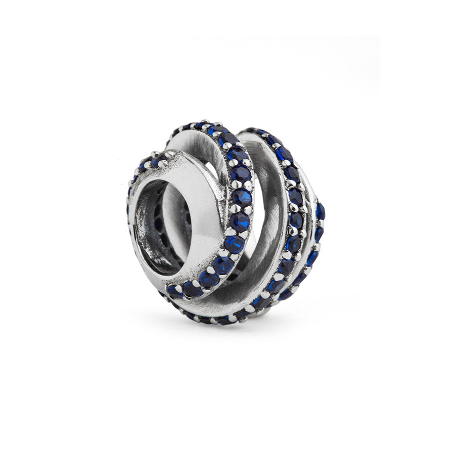 Spiral Blue CZ Spacer Charm - Fenton Glass Jewelry