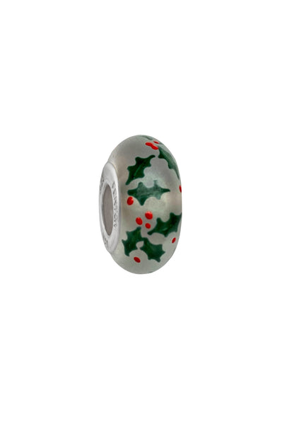 Boughs of Holly Murano Glass Bead