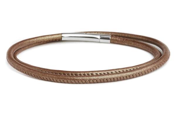 Double Wrap Leather Bracelet in Bronze - Fenton Glass Jewelry