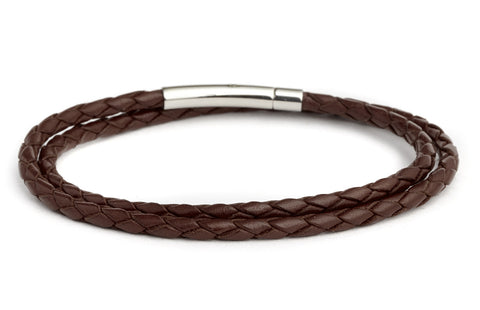 Braided Double Wrap Leather Bracelet in Brown