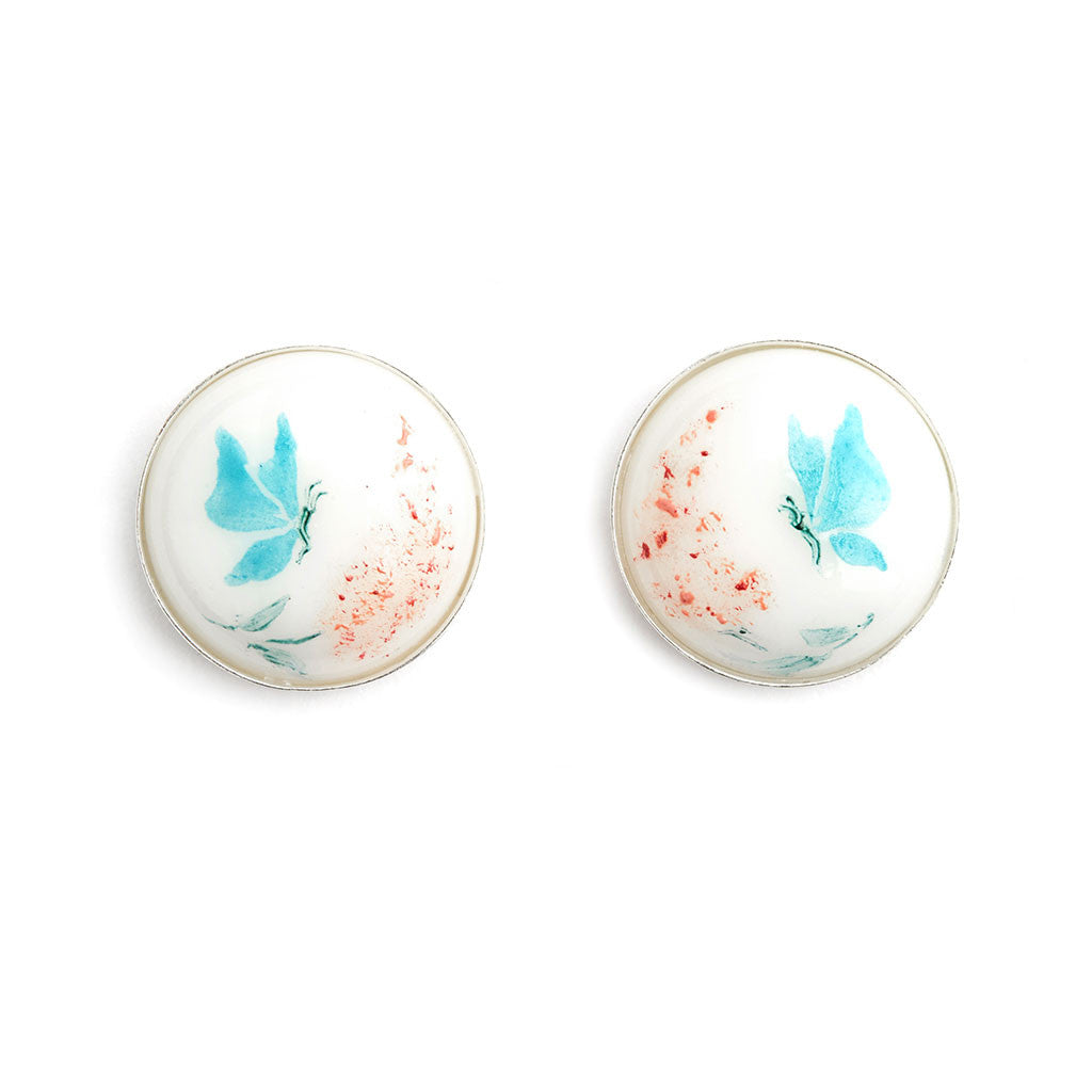 """Butterflies"" Hand Decorated Stud Earrings - Fenton Glass Jewelry"