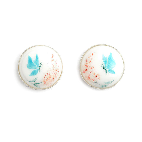 """Butterflies"" Hand Decorated Stud Earrings"
