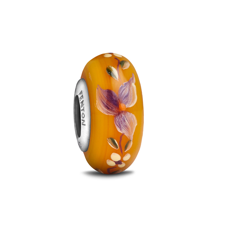 """Butternut Blooms"" Hand Decorated Glass Bead - Fenton Glass Jewelry"