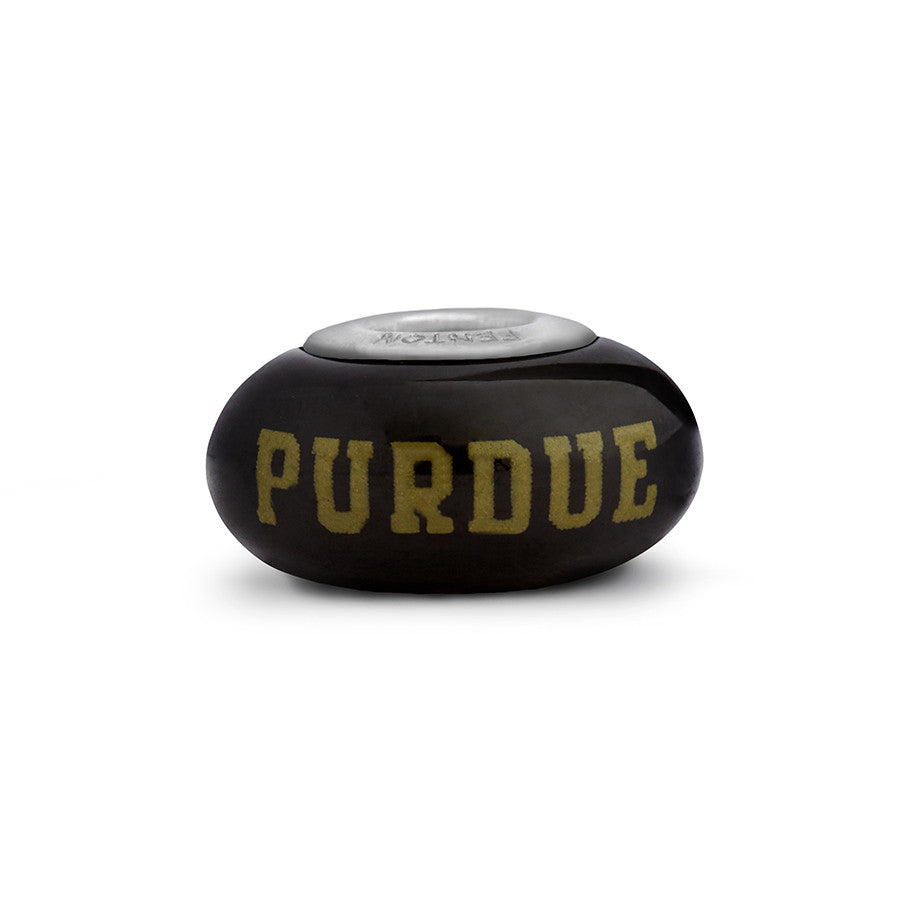 Purdue University Collegiate Black Glass Bead - Fenton Glass Jewelry - 1