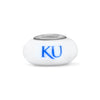 Kansas University Collegiate Milk Glass Bead - Fenton Glass Jewelry - 1