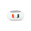 Miami Hurricanes Collegiate Milk Glass Bead - Fenton Glass Jewelry - 1