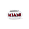 Miami of Ohio Collegiate Milk Glass Bead - Fenton Glass Jewelry - 1