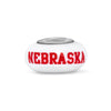 Nebraska Collegiate Milk Glass Bead - Fenton Glass Jewelry - 1