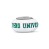 Ohio University Collegiate Milk Glass Glass Bead - Fenton Glass Jewelry - 1