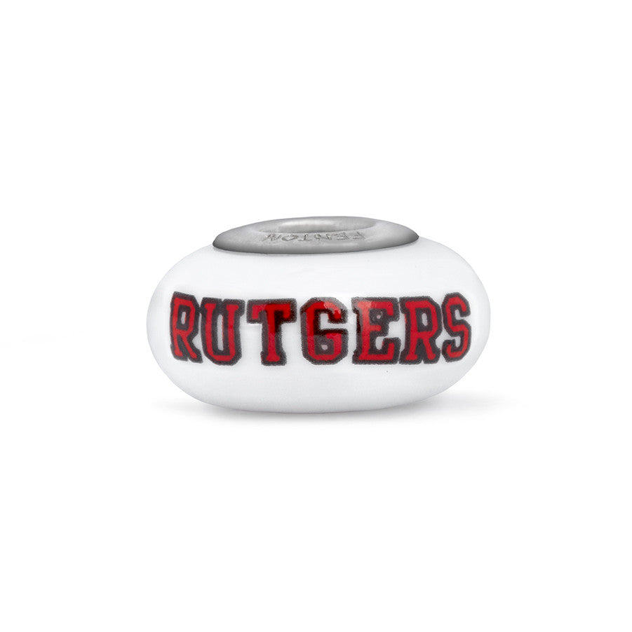 Rutgers Collegiate Milk Glass Bead - Fenton Glass Jewelry - 1