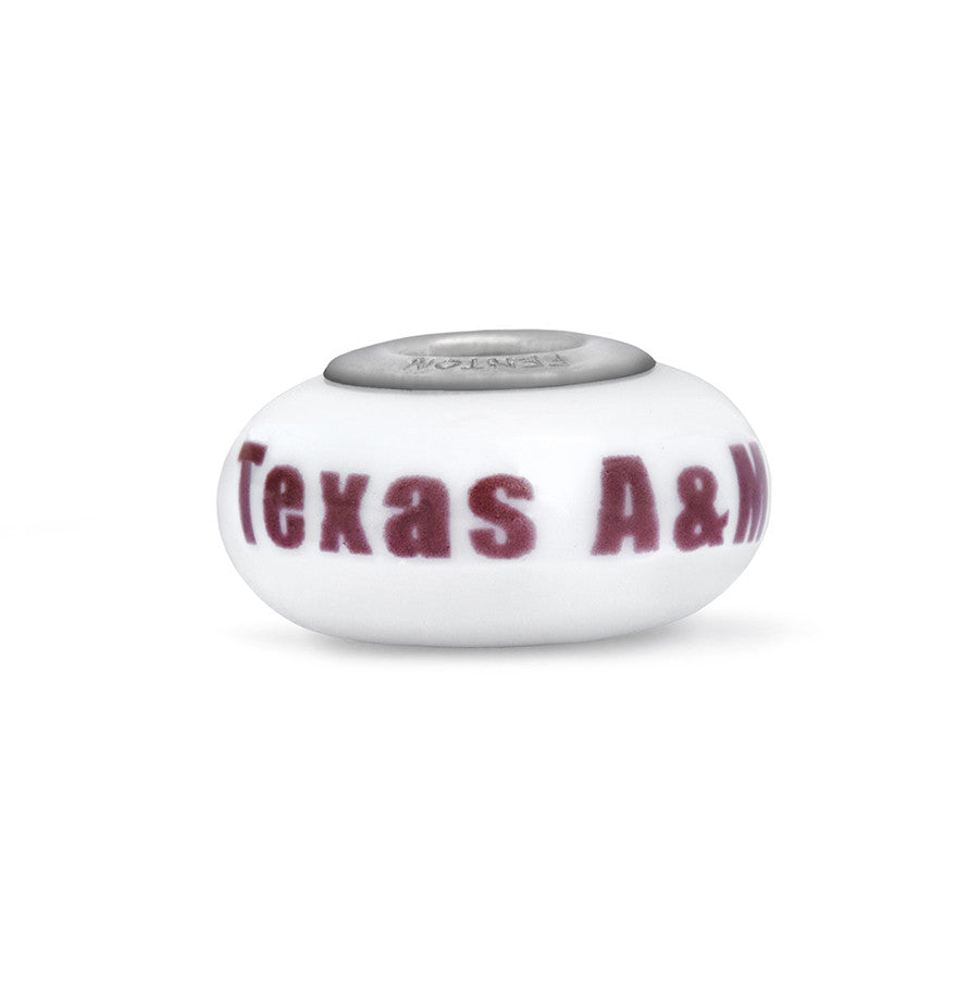 Texas A & M  Collegiate White Glass Bead - Fenton Glass Jewelry - 1
