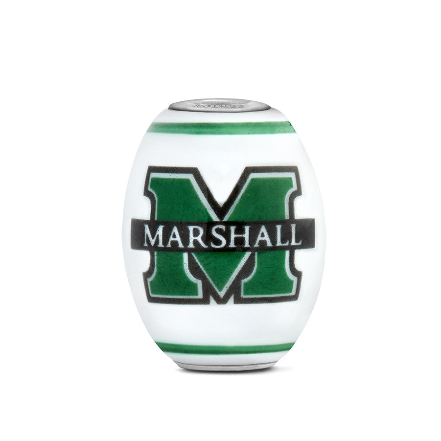 Marshall Collegiate Milk Glass Cornerstone Bead - Fenton Glass Jewelry - 1