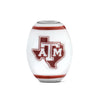 Texas A & M Collegiate Milk Glass Cornerstone Bead - Fenton Glass Jewelry - 1