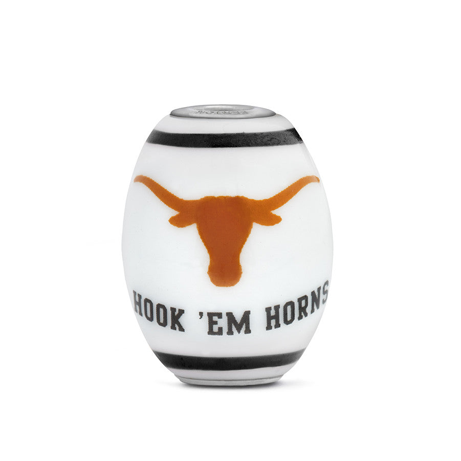 Texas Longhorns Collegiate Milk Glass Cornerstone Bead - Fenton Glass Jewelry - 1
