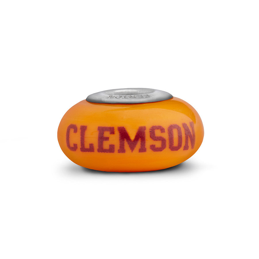 Clemson Collegiate Orange Glass Bead - Fenton Glass Jewelry - 1