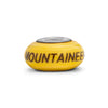 West Virginia University Collegiate Yellow Glass Bead - Fenton Glass Jewelry - 2