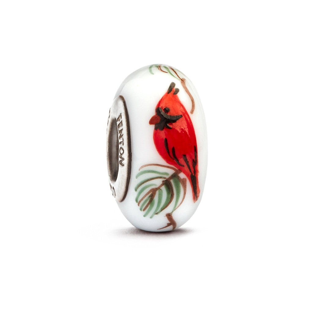 """Cardinal on Pine"" Hand Decorated Glass Bead - Fenton Glass Jewelry"
