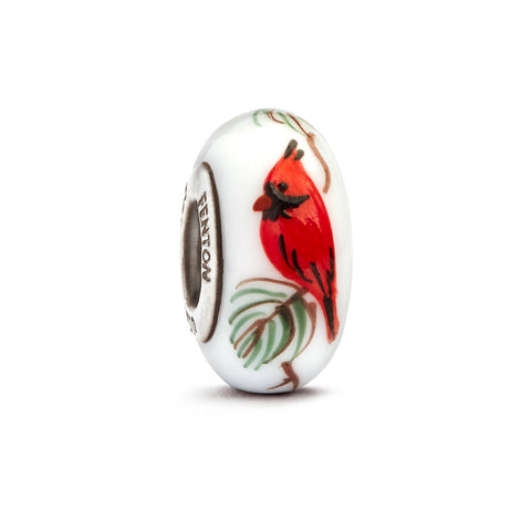 """Cardinal on Pine"" Hand Decorated Glass Bead"