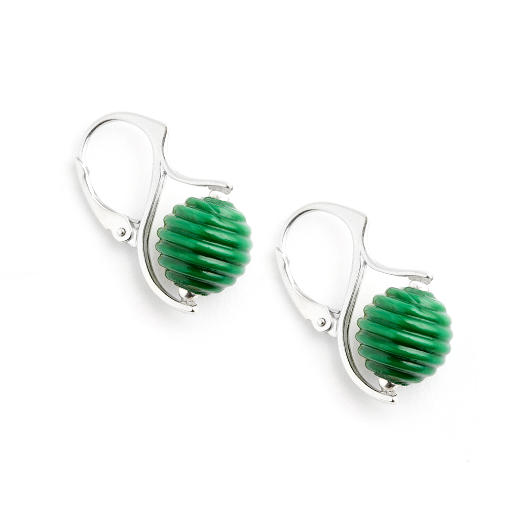 """Clover Green"" Hive Earrings - Fenton Glass Jewelry"