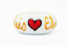 Elvis Hearts Hand Decorated Glass Bead