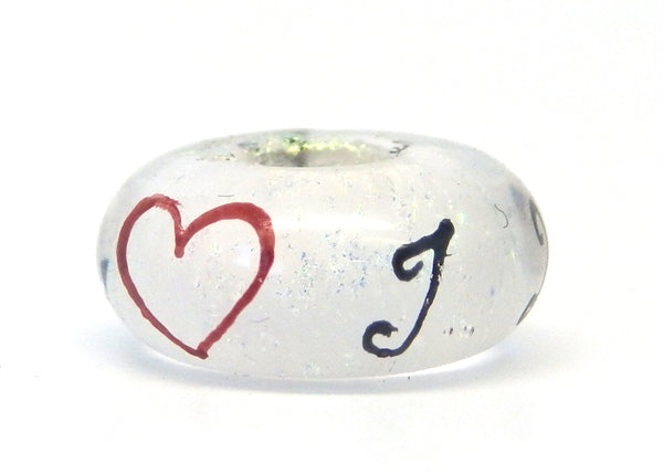I Love Elvis Hand Decorated Glass Bead