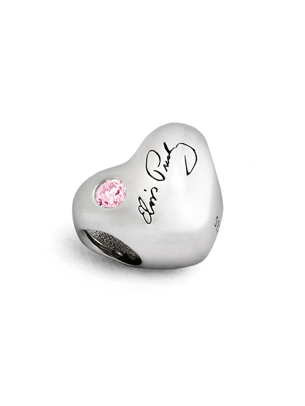 Elvis Signature Pink Crystal Heart Bead