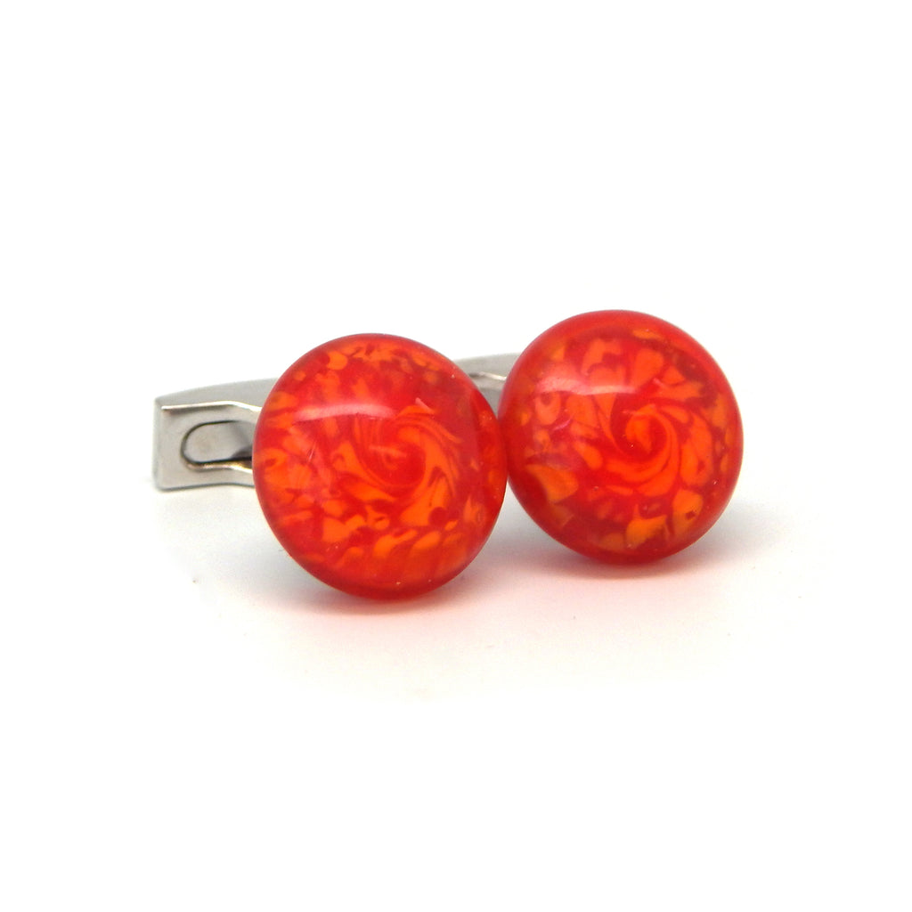 """Molten Lava"" Glass Crafted Cufflinks"