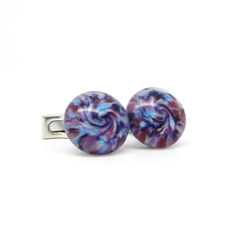 """Blue Sunrise"" Glass Crafted Cufflinks"