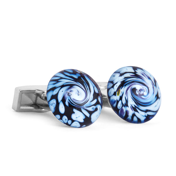 """Glacier Bay"" Glass Crafted Cufflinks"