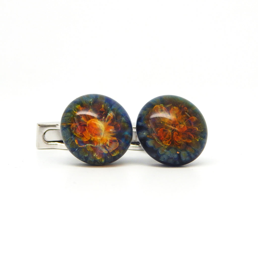 """Earth's Core"" Glass Crafted Cufflinks"