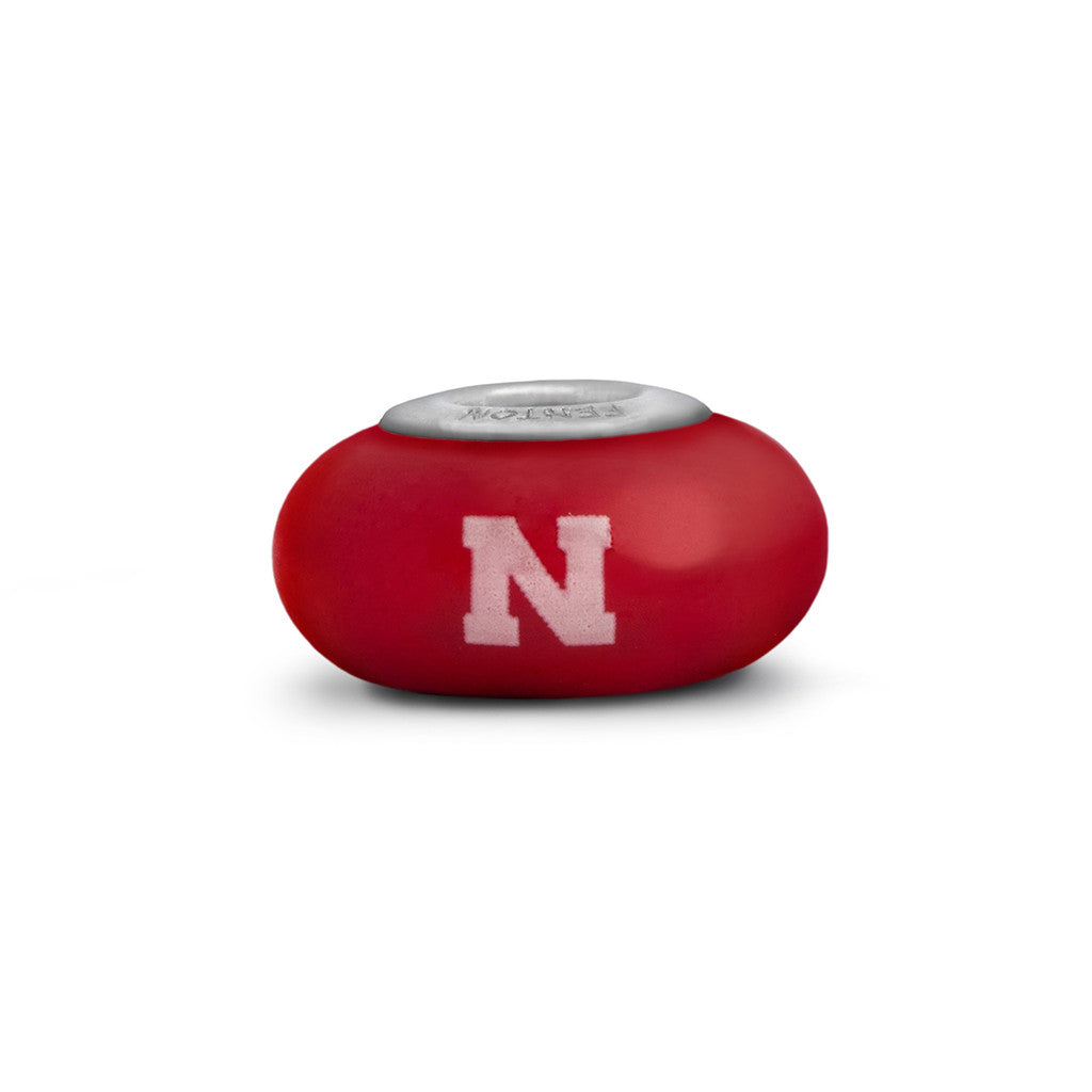 Nebraska Collegiate Red Glass Bead - Fenton Glass Jewelry - 1