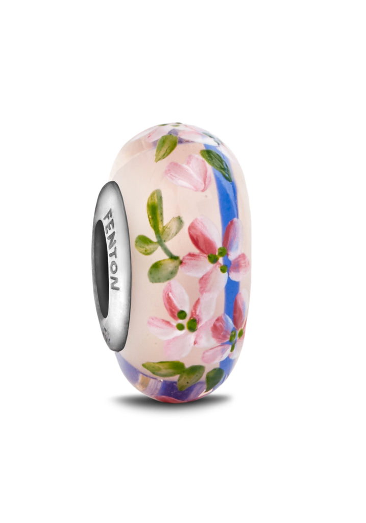 """Forever Flowers"" Hand Decorated Glass Bead"