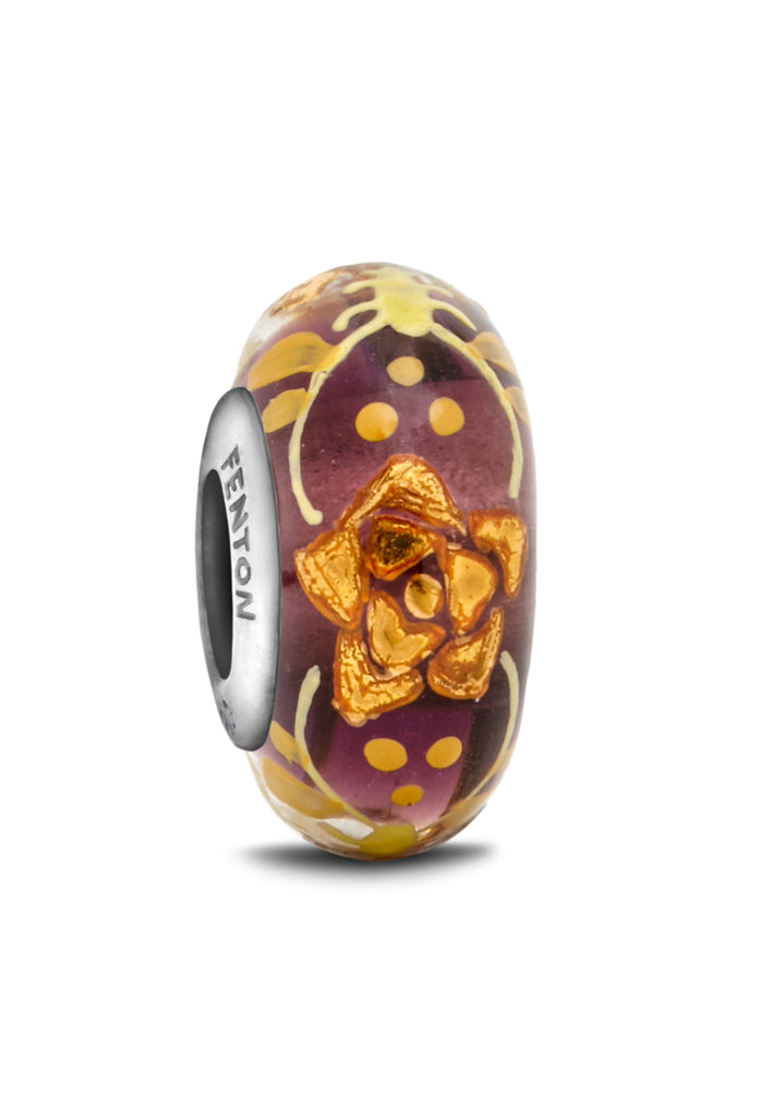 """Gilded Blossoms"" Hand Decorated Bead"