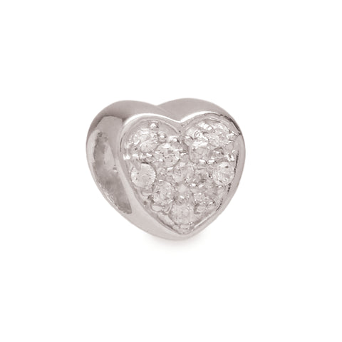 Crystal Heart Spacer Charm