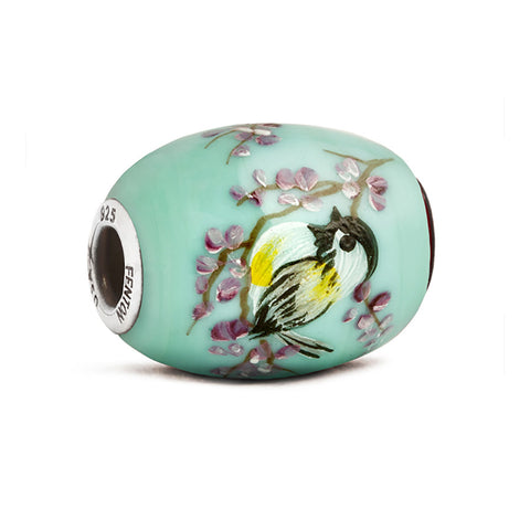 """Chickadee"" Glass Cornerstone Bead"