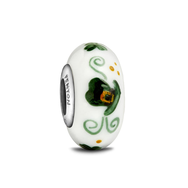 """Wee Bit Irish"" Hand Decorated Bead - Fenton Glass Jewelry - 1"