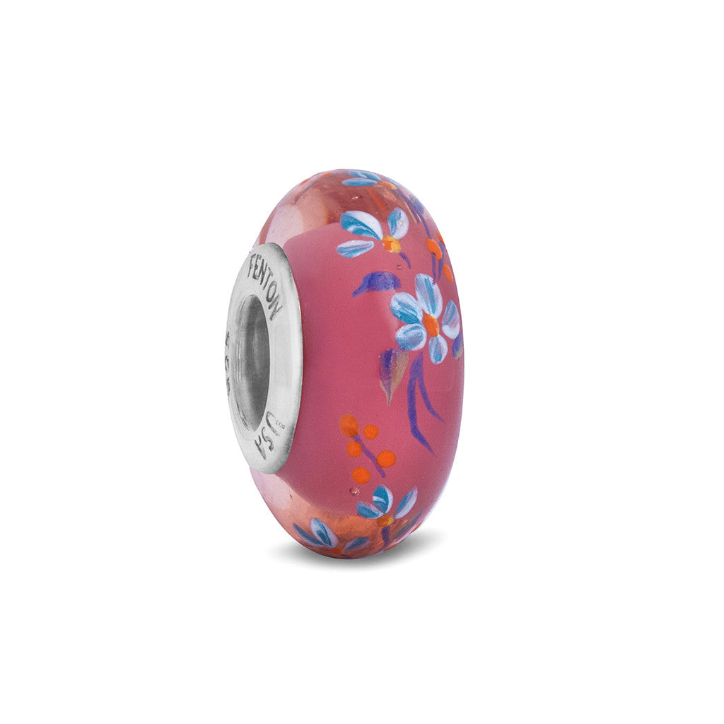 """Forget Me Nots"" Hand Decorated Glass Bead"